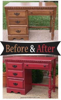 Distressed Barn Red Desk with Black Glaze - Before and After from Facelift Furniture