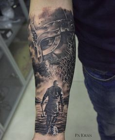 Tattoo Pavel Krasnyak - tattoo's photo In the style Black and grey, Male, Vikin Warrior Tattoo Sleeve, Viking Tattoo Sleeve, Realistic Tattoo Sleeve, Norse Tattoo, Arm Sleeve Tattoos, Tattoo Sleeve Designs, Viking Tribal Tattoos, Viking Tattoos For Men, Viking Warrior Tattoos