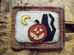Felted Wool Halloween Penny Rug Candle Mat
