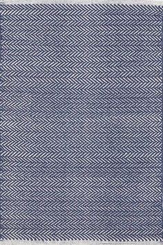 Herringbone Indigo Blue Geometric Area Rug