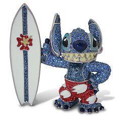 $450Jeweled Surfin' Stitch Figurine by Arribas | Figurines & Keepsakes | Disney Store