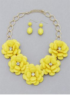 Yellow Blossoms Necklace & Earring Set from P.S. I Love You More Boutique. www.psiloveyoumoreboutique.com