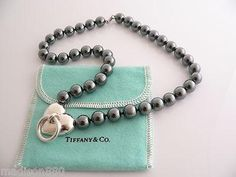 Tiffany & Co Silver Hematite Ball Bead Heart Necklace Chain Rare Heavy Excellent