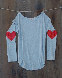 Sequin Heart Elbow Patch Dazzle Patch Valentines by ICaughtTheSun