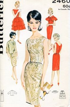 1960s Slim Evening Cocktail Party Dress Pattern Jacket Ruffled Overskirt and Lovely Ruffled Cape Butterick 2460 Vintage Sewing Pattern Bust 34