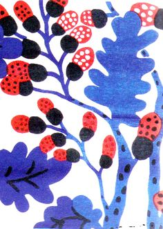 blue and red plus black and white by Katsuji Wakisaka : Japanese Textile designer