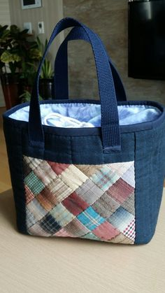 Patchwork Bags, Quilted Bag, Library Bag, Japanese Bag, Bag Pattern Free, Sewing Aprons, Denim Bag, Purse Patterns, Fabric Bags