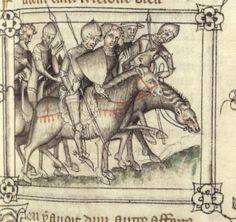 14th century helmet / helmets ( manuscript : FR 1584, Guillaume de machaut, fol 90, 1377, France.