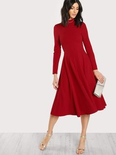 Elegant A Line Button Plain Fit and Flare Flared High Neck Long Sleeve High Waist Navy Long Length Mock Neck Fit & Flare Dress Nye Outfits, New Years Eve Outfits, Classy Outfits, Trendy Outfits, Classy Dress, Dress Casual, Formal Dress, Women's Dresses, Dresses Online
