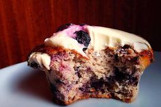 Blueberry Protein Muffins with Angelic Cream Cheese Icing - *Gluten-Free, Sugar-Free, *Dairy-Free Option