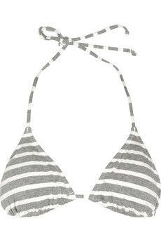 Striped stretch-cotton triangle bikini top / JCrew