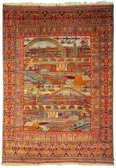 12 10 x 18 6 Burgundy Afghan Oriental Rugs Taimani War Rug reflecting the Soviet invasion of Afghanistan. I've never seen one as detailed and on a large scale. Silver Carpet, Gray Carpet, Iranian Rugs, Rope Rug, Afghan Rugs, Rustic Rugs, Textiles, Patterned Carpet, Modern Carpet