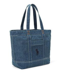 Polo Ralph Lauren - Bolso Denim Big Pony - Projects to Try - Denim Tote Bags, Denim Handbags, Denim Purse, Denim Ralph Lauren, Potli Bags, Denim Crafts, Fabric Bags, Knitted Bags, Cloth Bags
