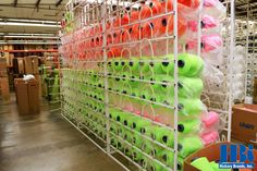 How many spools does it take to make a shoelace? :) #lotsandlots #neon #manufacturingintheUSA