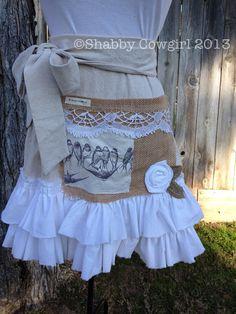 Tattered Laundry Ruffled Half Apron by Shabbycowgirl on Etsy