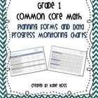 Easy to Use!  Grade 1 Common Core Math Planners and Data Progress Monitoring Charts!   An excellent tool for planning how you will address the Common Core Standa...