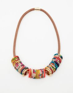 Tie&Dye Razzen's Julie Thevenot  ~  Hand-dyed wood beads on a thick leather cord, featuring brass end clasp and metal bead accents.