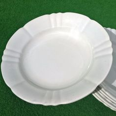 ANTIQUE SOUP PLATE SET MADE IN FRANCE WHITE SHABBY CHIC DEKO SUPPENTELLER Weiß