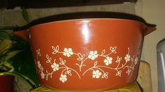 VINTAGE PYREX 474-B TRAILING FLOWERS RED CASSEROLE DISH #PYREX