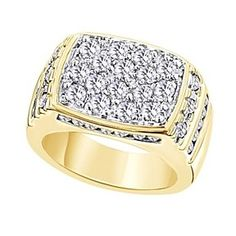 2.68 Ct Round Cut 14K Yellow Gold Over Cluster Men's Wedding Band Ring # Free Stud Earrings by JewelryHub on Opensky