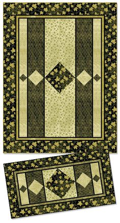 """Diamond Band - PTN747   *Pattern includes Quilt & Runner   Size: 58"""" x 76"""" (quilt), 28"""" x 54"""" (runner)  Kate Mitchell of Kate Mitchell Quilts  www.katemitchellquilts.com     Based on Stonehenge - Gold Leaf collection - by Linda Ludovico"""