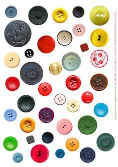 可愛くておしゃれなレトロボタン無料素材 | WOLCA