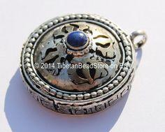 Tibetan Double Vajra & Om Mani Mantra Prayer Box Amulet Pendant with Lapis Inlay - Om - Nepal Tibet Yoga Buddhist Jewelry - WM3522  $6