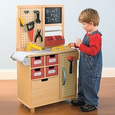 There's plenty of toy workbenches out there, but this sturdy wooden workbench is as realistic as it gets!