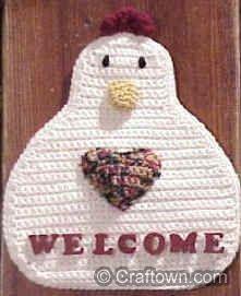 Chicken welcome sign crochet pattern.