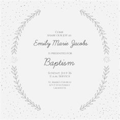 Simply Styled Square - Free Printable Baptism & Christening Invitation Template   Greetings Island