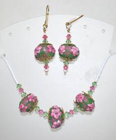 Peach Tea Rose Lampwork Beaded Necklace Earring Set