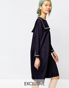 Buy Zacro Dress With Sailor Girl Collar at ASOS. With free delivery and return options (Ts&Cs apply), online shopping has never been so easy. Get the latest trends with ASOS now. Navy Dress, Blue Dresses, Short Dresses, White Dress, Summer Dresses, Dress Blues, Sailor Outfits, Sailor Dress, Latest Fashion Clothes