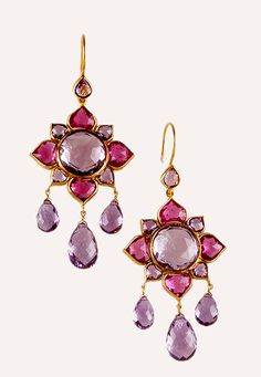 Contemporary 22 karat gold, amethyst and tourmaline Mughal style earrings India Jewelry, Gold Jewelry, Mughal Jewelry, Jewellery Bracelets, Antique Jewelry, Vintage Jewelry, Tourmaline Jewelry, Indian Earrings, Women's Earrings
