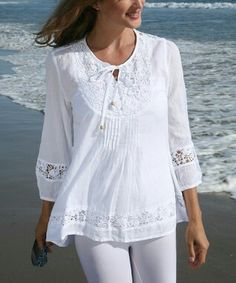 Look at this Ananda's Collection White Crochet Tie-Front Peasant Top - Women on today! Look at this Ananda's Collection White Crochet Tie-Front Peasant Top - Women on today! Blouse Styles, Blouse Designs, Sundress Outfit, Peasant Tops, Mode Inspiration, Look Fashion, Fashion Dresses, Tunic, Clothes For Women