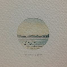 """Day 289 : """"Kommetjie: where it all began, and where it will end. So here's to all the in-betweens in this circle of life that we dance together. Love always, Lolo"""". For @rickwall. 26 x 26 mm. #365paintingsforants #miniature #watercolor #kommetjie #surf (at Vredehoek)"""