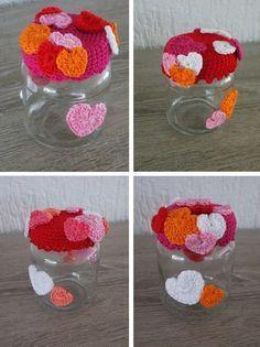 Omhaakt potje hartjes (met gratis patroon) / crochet hearts jar (with free…