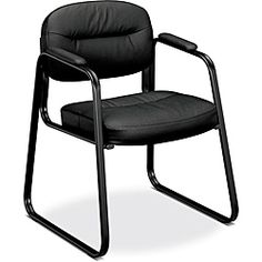 @Overstock - Padded seat and back for comfort Tailored stitching for professional look Moves with ease on carpets and bare floors http://www.overstock.com/Office-Supplies/basyx-by-HON-VL653-Black-Leather-Guest-Side-Chair/5843980/product.html?CID=214117 $69.14
