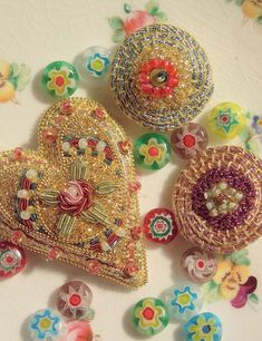 Royal School of Needlework: Goldwork Millefiore Brooches