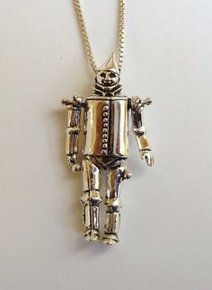 Sterling Silver Moveable Wizard of Oz Tinman Necklace by MorganFischerJewelry on Etsy