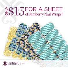 Jamberry Nail wraps, only $15 a sheet! That makes each manicure or pedicure $4 each, or around $3 with the Buy 3 Get 1 free deal! http://www.aubreymueller.jamberrynails.net/shop