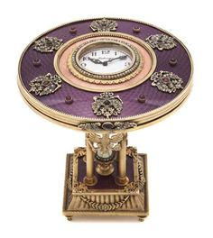 A Russian Guilloche Enamel Table Clock. AWESOME/AMAZING & BEAUTIFUL COLOUR PURPLE <3<3<3 @