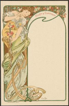 ALPHONSE MUCHA MOET AND CHANDON MENU CARDS complete set of plain back cards published by F. Champenois in 1900. Distributed by the famous French champagne and wine makers Moet and Chandon.