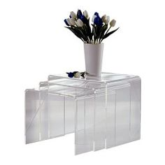 Conjunto de 3 mesas rincón minimalistas, acabado transparente