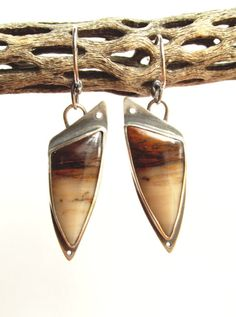 Earrings - Take Flight - Sterling Silver - Petrified Wood - Lapidary - Hand Cut and Polished - Bezel - Silversmith - RMD Designs - www.rmddesigns.com