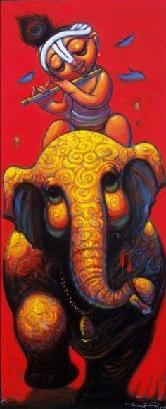 Bal Krishna, Krishna Art, Radhe Krishna, India Painting, Love Painting, Sweet Drawings, Art Drawings, Indian Art, Good Morning Krishna