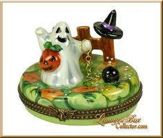 Ghost in Pumpkin Patch with Owl Pumpkin Witches Hat Ball & Chain, Beauchamp Limoges Trinket Box.