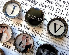 Items similar to WEDDING ENGAGEMENT ANNIVERSARY Custom Photo Bottle Cap Magnets on Etsy