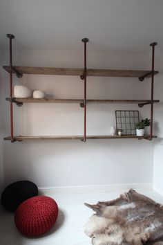 Reclaimed Scaffolding Boards and Steel Pipe Wall Mounted Shelving/Bookcase.