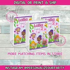 Bubble Guppies Party, Brochure Paper, Custom Gift Bags, Craft Bags, Party Favor Bags, Printing Labels, Picture Design, Kid Names, Small Bags