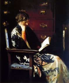 1915-6 Edmund C. Tarbell (American Impressionist, 1862–1938) ~ 'Mary, Reading'